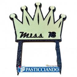 Selling on-line of Topper corona Miss 18 in legno oro e nero glitter GRAZIANO