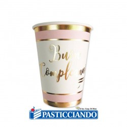 Selling on-line of Bicchier Buon Compleanno chic rosa oro 8pz 200cc Big Party