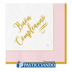 Selling on-line of Tovaglioli Buon Compleanno chic rosa oro 33x33cm 20pz Big Party