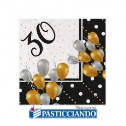 Selling on-line of Tovagliolini 30° Compleanno oro nero argento 25x25cm Big Party