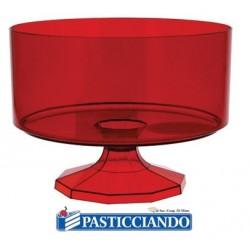 Contenitore piccolo rotondo in plastica rosso confetti  in vendita online