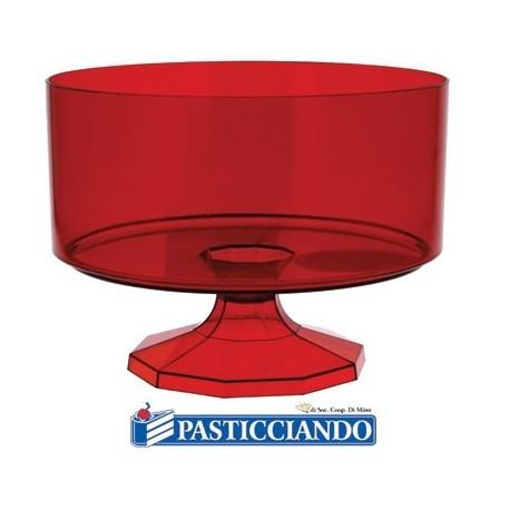 Contenitore piccolo rotondo in plastica rosso confetti -