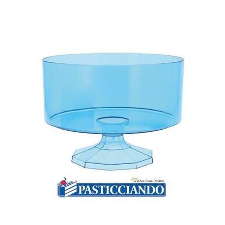 Contenitore piccolo rotondo in plastica celeste confetti -