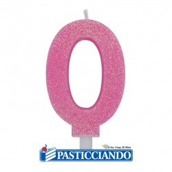 Selling on-line of Candela 0 di cera glitter rosa Big Party