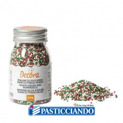 Selling on-line of Perline di zucchero bianco, verde e rosso 100gr Decora