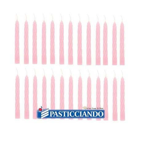 Candeline rosa per torta 100pz -