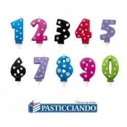 Candela numero a pois colori a scelta Big Party in vendita online