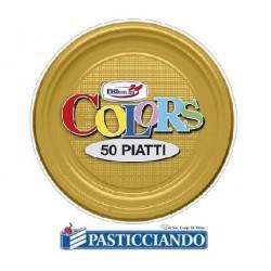 Piatti in plastica oro 50pz Dopla