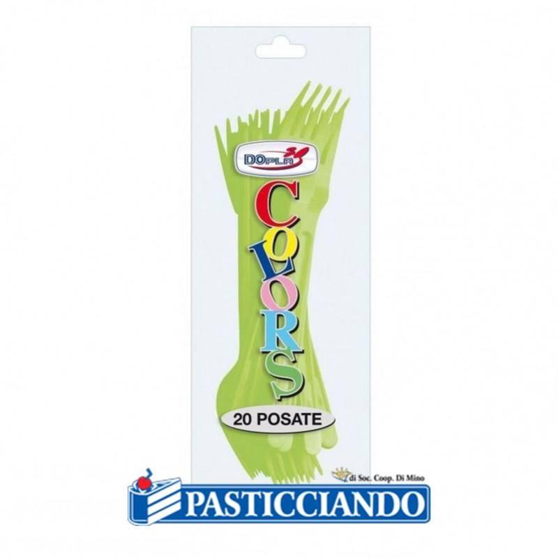 Forchettine in plastica monocolore - Big Party