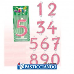 Selling on-line of Candele numerate glitterate rosa
