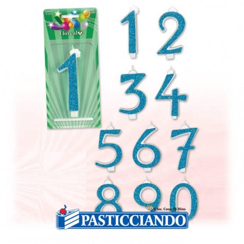 Candele numerate glitterate azzurre - Floreal