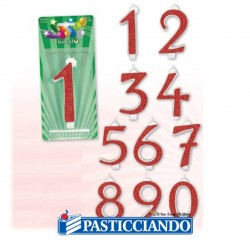 Selling on-line of Candele numerate glitterate rosse