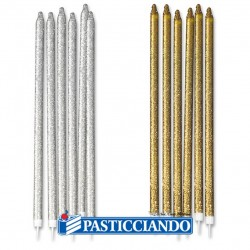 Selling on-line of Candele glitterate oro e argento