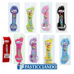 Forchettine in plastica monocolore Big Party in vendita online