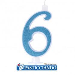 Vendita on-line di Candela 6 azzurra glitter piccola GRAZIANO