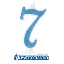 Vendita on-line di Candela 7 azzurra glitter piccola GRAZIANO
