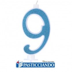 Vendita on-line di Candela 9 azzurra glitter piccola