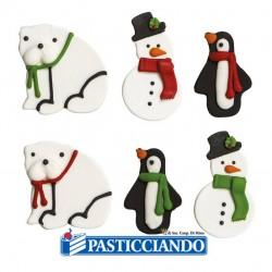Vendita on-line di Pupazzo di neve pinguino e orso in zucchero Decora