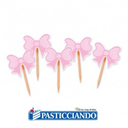 Vendita on-line di 25 picks fiocco rosa Big Party