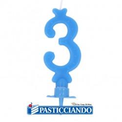 Vendita on-line di Candelina azzurra numero 3 GRAZIANO