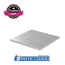 Vendita on-line di Sottotorta rigido quadrato argento 20x20 H1,2 cm Decora