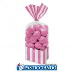 Selling on-line of Sacchettini strisce rosa 10pz Big Party