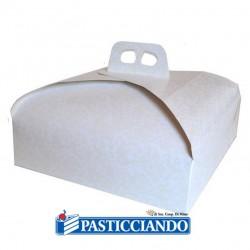 Vendita on-line di Scatola porta torta bianca damascata 27x27 Cartonplastica Patrizio s.r.l.