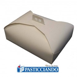 Selling on-line of Scatola porta torta bianca damascata 31x42