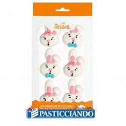 Coniglietti in zucchero 6pz Pasqua Decora in vendita online